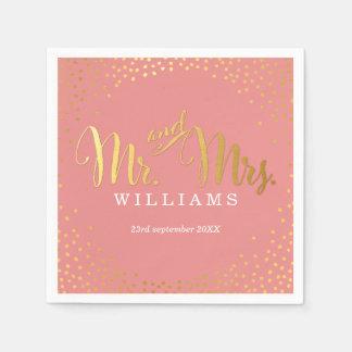 STYLISH WEDDING TABLE mini confetti gold coral Paper Napkin