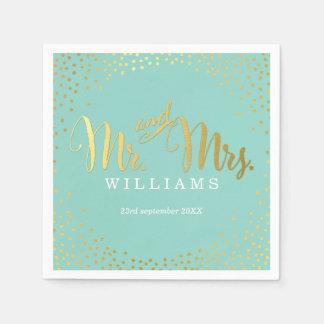 STYLISH WEDDING TABLE mini confetti gold mint Napkin