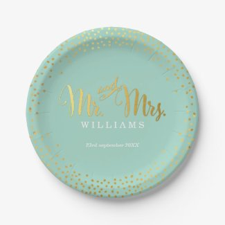 STYLISH WEDDING TABLE mini confetti gold mint Paper Plate  sc 1 st  Tropical Papers & Wedding Paper Plates | Tropical Papers