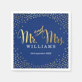 STYLISH WEDDING TABLE mini confetti gold navy Paper Napkin