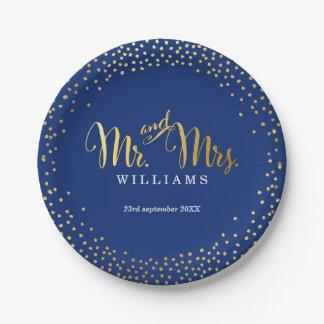 STYLISH WEDDING TABLE mini confetti gold navy 7 Inch Paper Plate