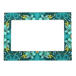 Stylish whimsical lux floral watercolor pattern magnetic photo frame