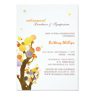 Stylish Whimsical Trees Retirement Party Invites