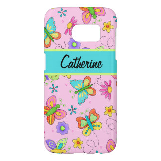 Stylish Whimsy Butterflies Pink Name Personalized Samsung Galaxy S7 Case