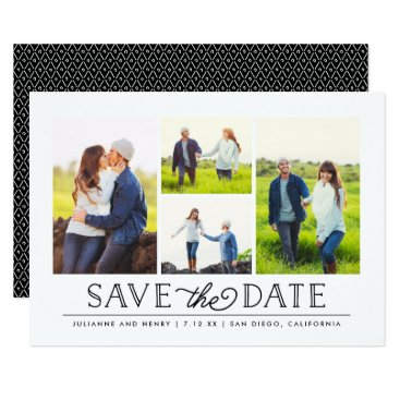 NBpaperco Stylish White 4 Photo Save the Date Card