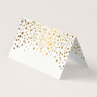 Stylish White and Gold Confetti | Place Cards