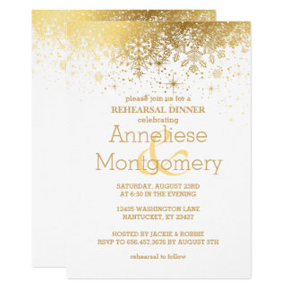 Stylish White and Gold Snowflake Rehearsal Dinner Card