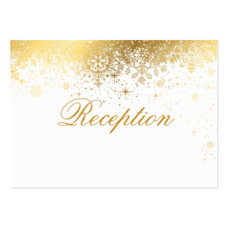 Stylish White and Gold Snowflakes Large Business Card