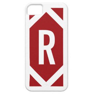 Stylish White Border Monogram Red iPhone 5 Case
