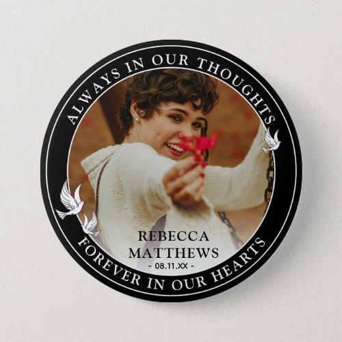 Stylish White Doves Photo  Memorial Keepsake Button