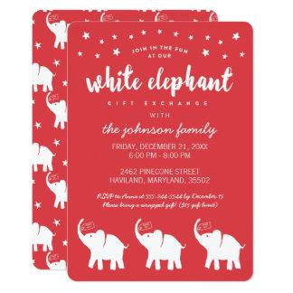 Stylish White Elephant Holiday Party Invitations