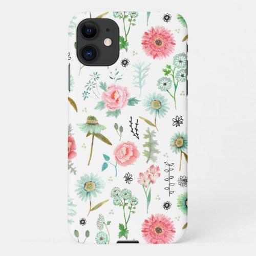 Stylish white Flowers Floral botanical pattern Phone Case