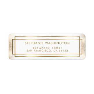Stylish White & Gold Border Wedding Label