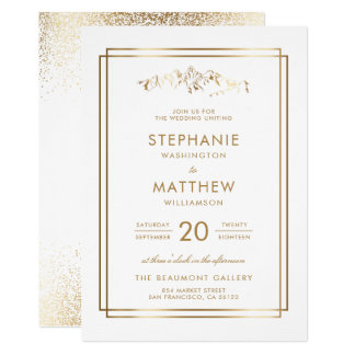 Stylish White & Gold Mountain Wedding Card