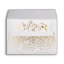 Stylish White & Gold Mountain Wedding Envelope