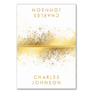 Stylish White & Gold Snowflakes | Place Cards