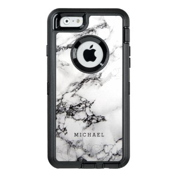 Stylish White Marble Texture With Custom Name Otterbox Defender Iphone Case by CityHunter at Zazzle