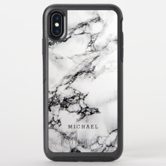 Stylish White Marble Texture with Custom Name OtterBox Symmetry iPhone XS Max Case