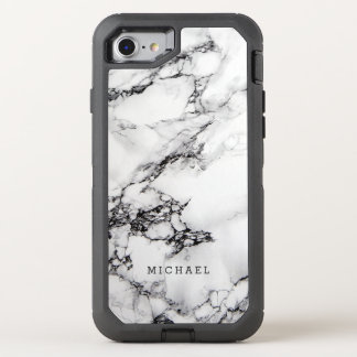Stylish White Marble Texture with Name OtterBox Defender iPhone 7 Case