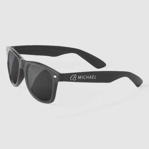 Stylish White Monogram Personalized Name Sunglasses