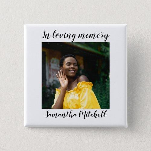 Stylish White Photo Funeral Button