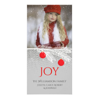 Stylish White Pine Branch Joy Holiday Photo Card