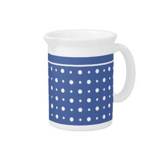 Stylish White Pitcher or Jug, Dark Blue Polka Dots