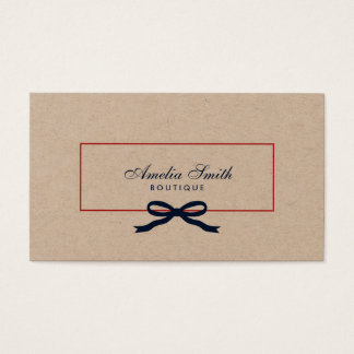 Stylish White Polka Dot and Blue Ribbon Kraft Business Card
