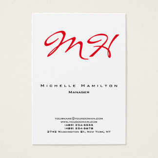 Stylish white red plain simple monogram clean business card