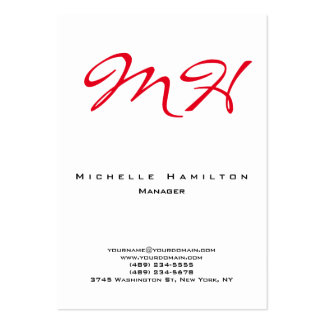 Stylish white red plain simple monogram clean large business card