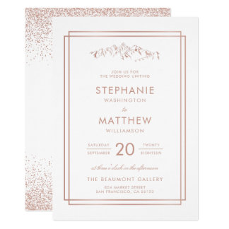 Stylish White & Rose Gold Mountain Wedding Card