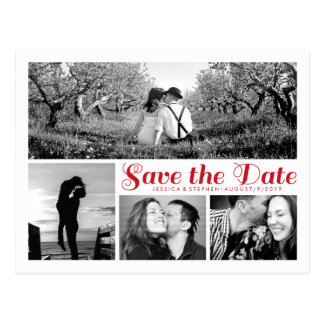 Stylish White Save The Date Collage Postcard Red