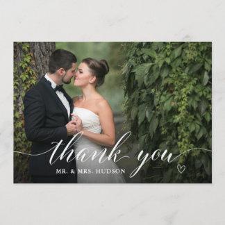 Stylish White Script Wedding Photo Thank You