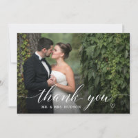 Stylish White Script Wedding Photo Thank You Card