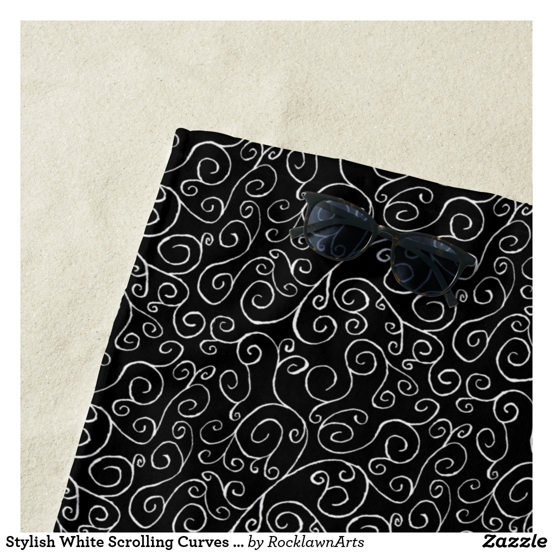 Stylish White Scrolling Curves on Black Beach Towel