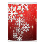 Stylish White Snowflake Pattern on Red Lamp Shade