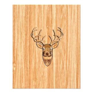 Stylish White Tail Buck Antlers Light Wood Grain Flyer