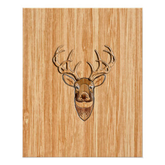 Stylish White Tail Buck Antlers Light Wood Grain Poster