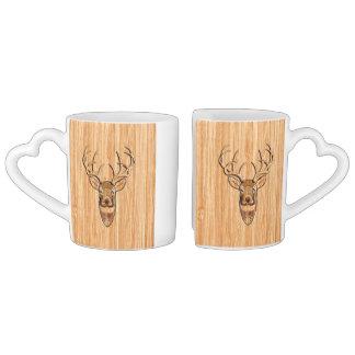 Stylish White Tail Deer Buck Head Light Wood Grain Coffee Mug Set