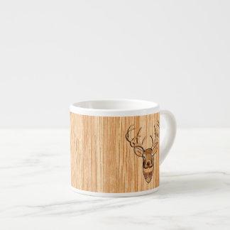 Stylish White Tail Deer Buck Head Light Wood Grain Espresso Cup