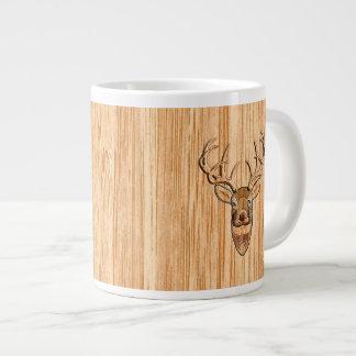 Stylish White Tail Deer Buck Head Light Wood Grain Large Coffee Mug