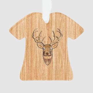Stylish White Tail Deer Buck Head Light Wood Grain Ornament
