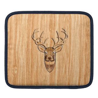 Stylish White Tail Deer Buck Head Light Wood Grain Sleeve For iPads