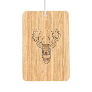 Stylish White Tail Deer Head Light Wood Grain Car Air Freshener