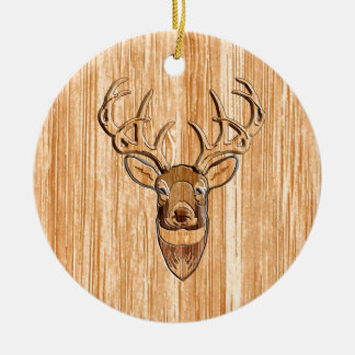 Stylish White Tail Deer Head Light Wood Grain Deco Ceramic Ornament