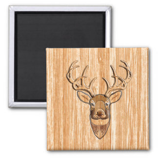 Stylish White Tail Deer Head Light Wood Grain Deco Magnet
