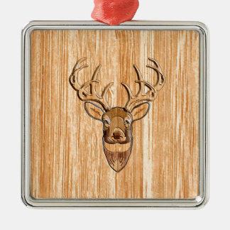 Stylish White Tail Deer Head Light Wood Grain Deco Metal Ornament