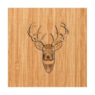 Stylish White Tail Deer Head Light Wood Grain Deco Wood Wall Art