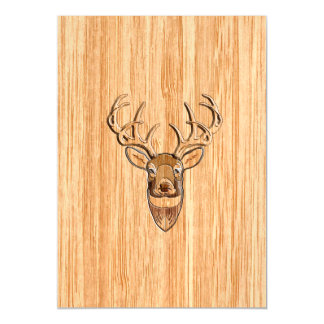 Stylish White Tail Deer Head Light Wood Grain Magnetic Card