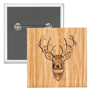 Stylish White Tail Deer Head Wood Grain Print Pinback Button